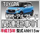 TOYOTAアルファード平成15年式-型式ANH-15W